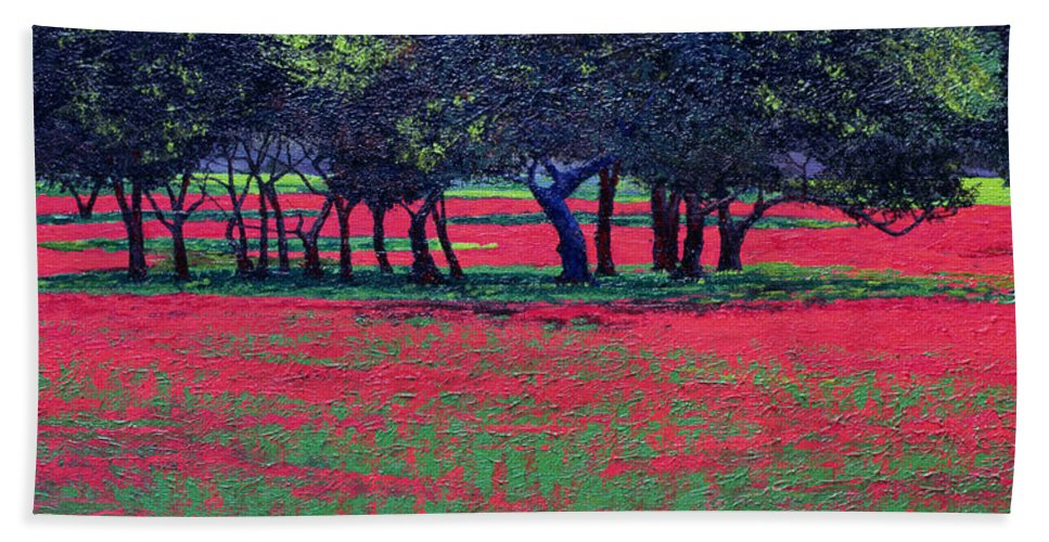 Landscape Hand Towel featuring the painting Red Shock by Trevor Neal