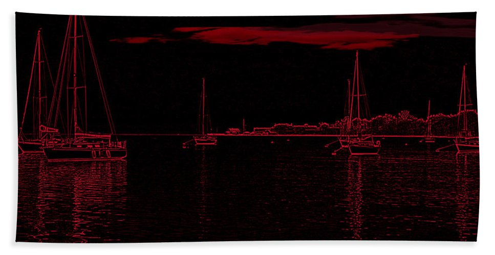 Sailboats Hand Towel featuring the photograph Red Sky At Night by Ericamaxine Price
