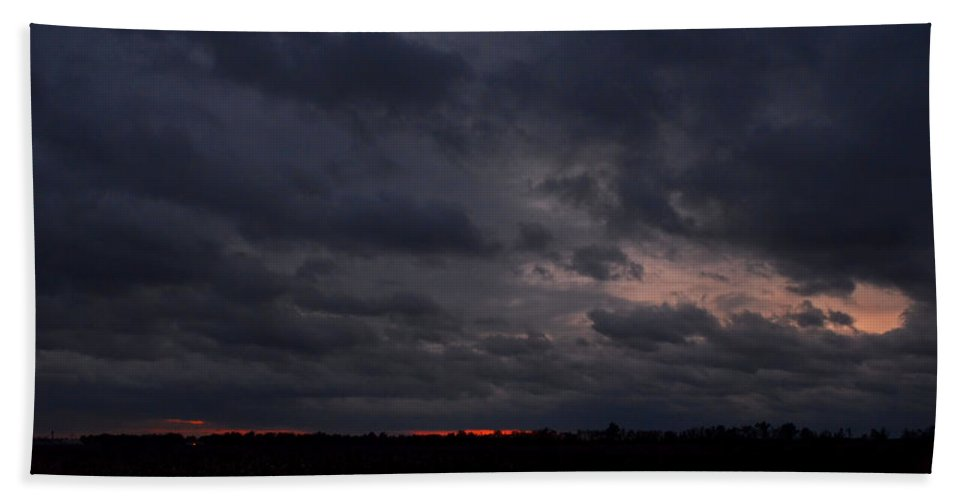 Clouds Bath Sheet featuring the photograph Red Sky In The Morning by Debbie Portwood