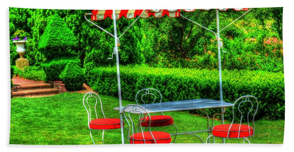 Red Bath Sheet featuring the photograph Red Stripes by Debbi Granruth