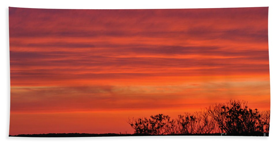 Sunset Hand Towel featuring the photograph Red Sunset by Paul Ward
