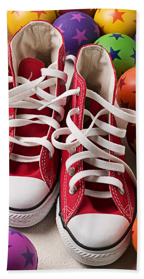 Tennis Shoes Balls Stars Round Shoestring Hand Towel featuring the photograph Red Tennis Shoes And Balls by Garry Gay