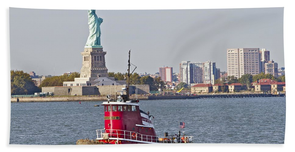 Red Tugboat Statue Of Liberty Water New York City Scenic Hand Towel featuring the photograph Red Tug Three And Liberty by Alice Gipson