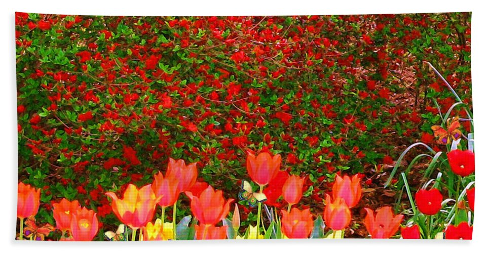 Tulips Bath Sheet featuring the painting Red Tulip Flowers by Susanna Katherine