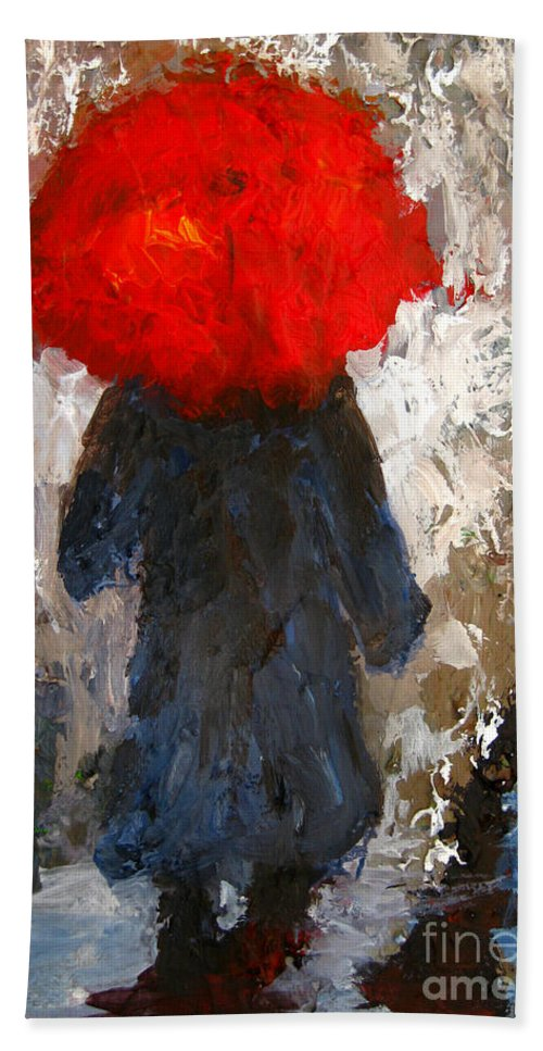 Umbrella Hand Towel featuring the painting Red Umbrella Under The Rain by Patricia Awapara