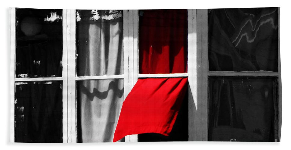 Window Hand Towel featuring the photograph Red Wave by Ms Judi