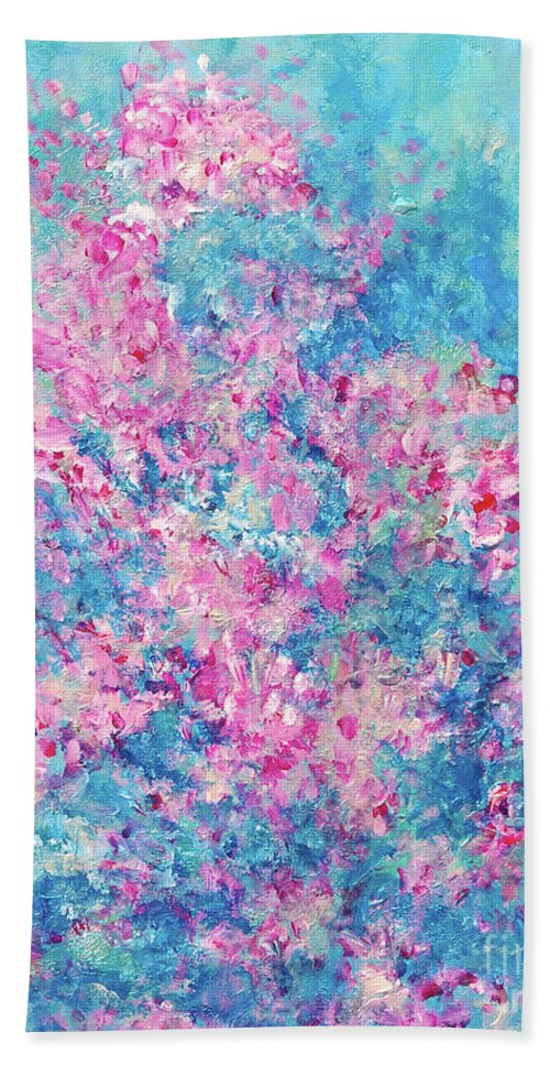 Redbud Tree Bath Sheet featuring the painting Redbud Special by Nancy Cupp