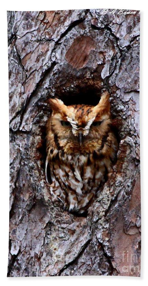 Eastern Screech Owl Hand Towel featuring the photograph Reddish Screech Owl by Barbara Bowen