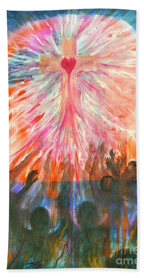 Redemption Bath Sheet featuring the painting Redemption by Penny Neimiller