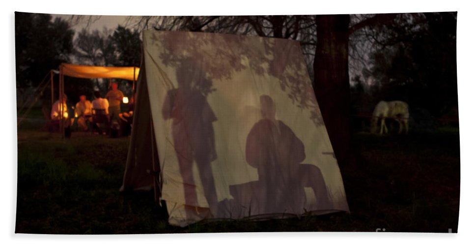 Camping Bath Sheet featuring the photograph Reenactors Camp by Kim Henderson