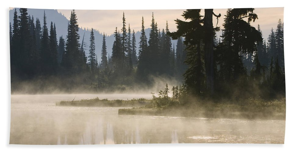Mp Hand Towel featuring the photograph Reflection Lake With Mist, Mount by Konrad Wothe