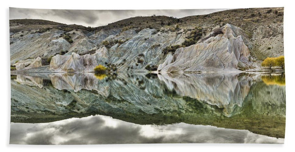 Hhh Hand Towel featuring the photograph Reflection On Blue Lake, St Bathans by Colin Monteath