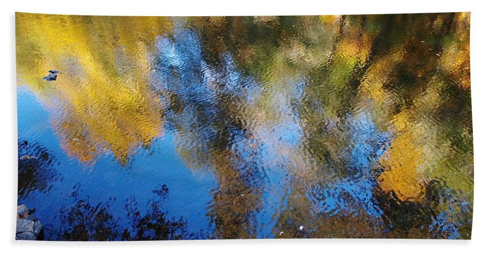 Yellow Bath Sheet featuring the photograph Reflection Perfection by Teri Schuster