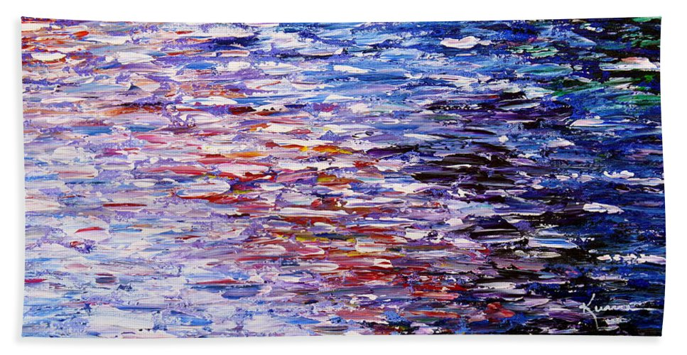 Seascape Bath Sheet featuring the painting Reflections by Kume Bryant