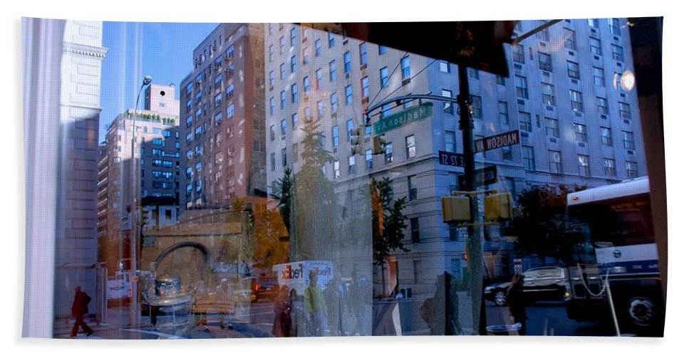 New York Hand Towel featuring the photograph Reflections On Madison Avenue by Eric Tressler