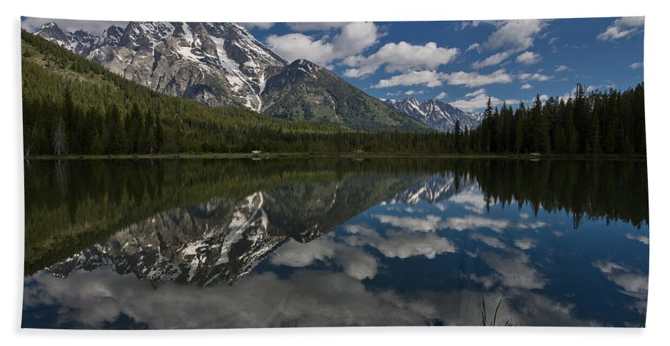 Grand Tetons Bath Sheet featuring the photograph Reflections On Mount Moran by Greg Nyquist