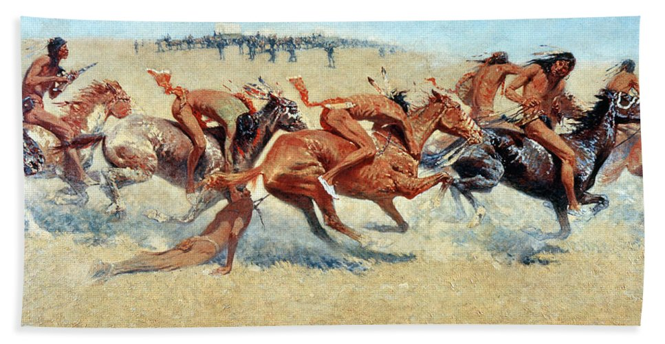 1908 Bath Sheet featuring the photograph Remington: Indian Warfare by Granger
