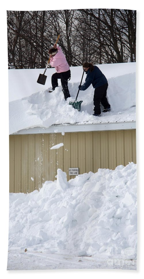 People Hand Towel featuring the photograph Removing Snow From A Building by Ted Kinsman