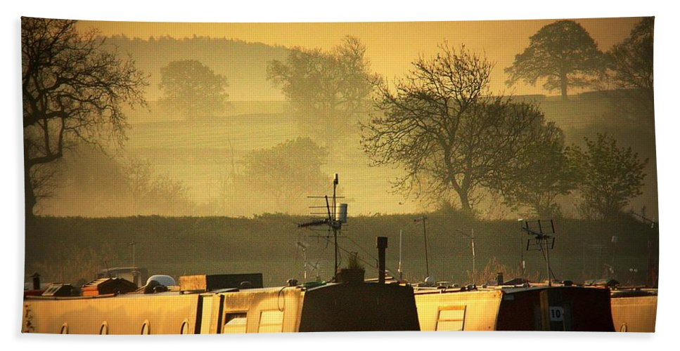 Inland Waterways Hand Towel featuring the photograph Resting Narrowboats by Linsey Williams