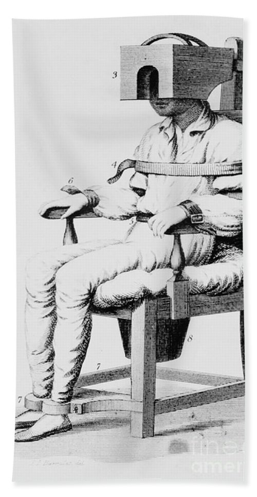 History Hand Towel featuring the photograph Restraining Chair 1811 by Science Source