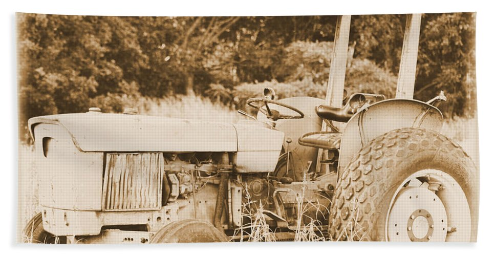 Tractor Bath Sheet featuring the photograph Retired by Karen Wagner
