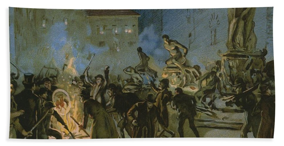 Male; Fire; Burning; Smoke; Night; Nationalist; Nationalists; Italian Unification; Insurrection; Uprising; Rebellion; City; Town; Toscane Hand Towel featuring the painting Revolution In Florence by Italian School