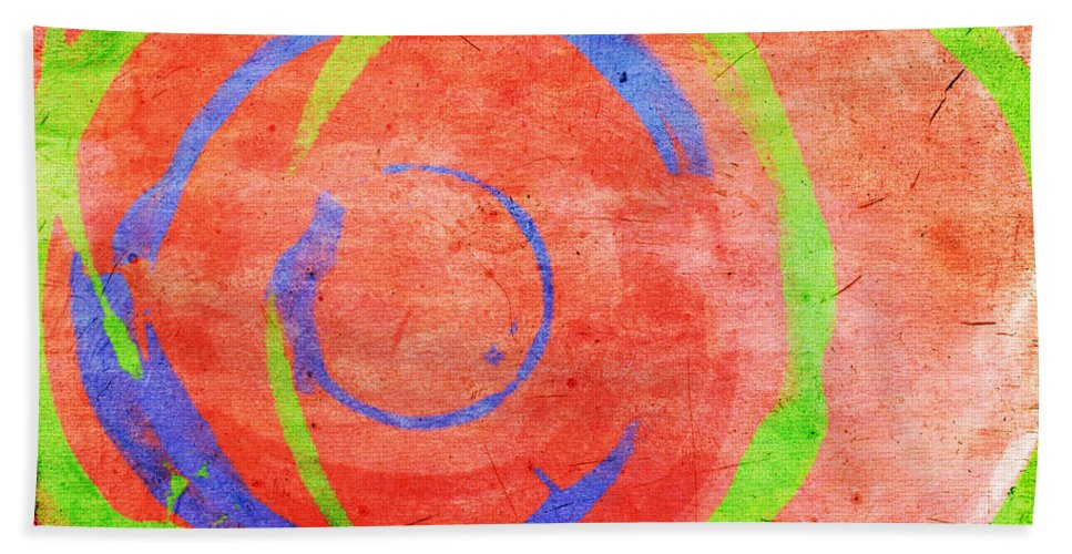 Red Bath Sheet featuring the painting RGB by Julie Niemela
