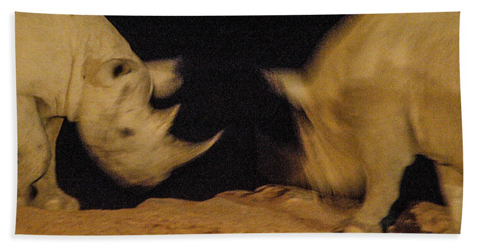 Action Hand Towel featuring the photograph Rhino Clash by Alistair Lyne
