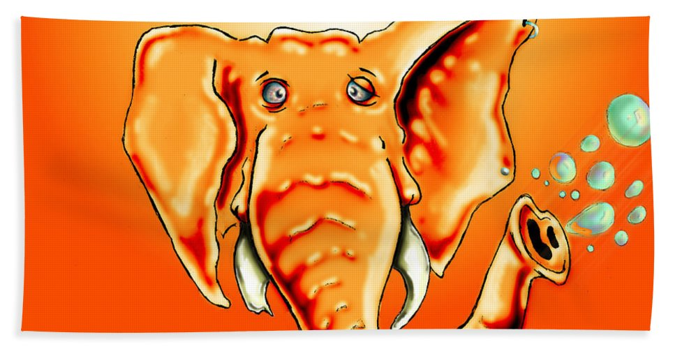 Elephant Hand Towel featuring the drawing Ringo Party Animal Orange by Adam Vance