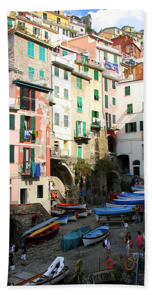 Riomaggiore Bath Sheet featuring the photograph Riomaggiore's Harbor by Carla Parris