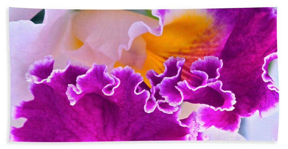 Orchid Macro Bath Sheet featuring the photograph Ripples Ruffles Frills Flutes by Byron Varvarigos