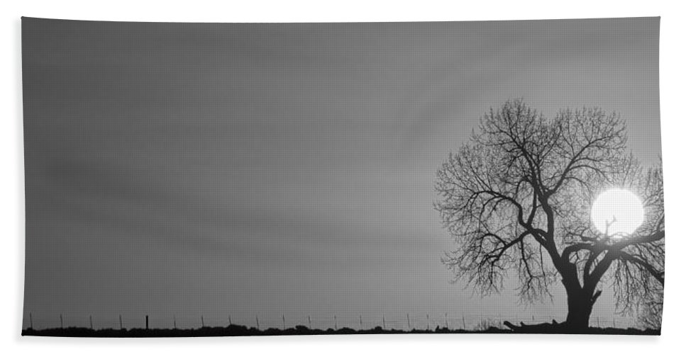 Sunrise Bath Sheet featuring the photograph Rising Sun Panorama In Black And White by James BO Insogna