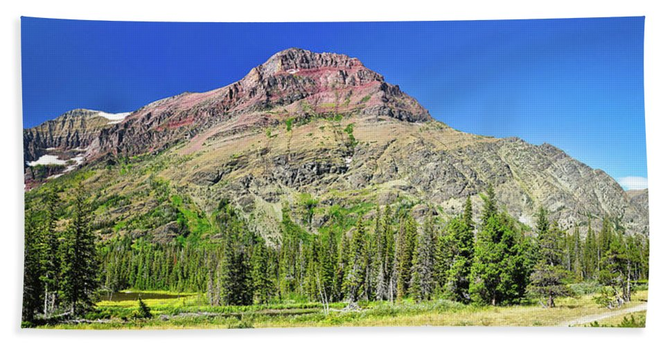 Glacier National Park Hand Towel featuring the photograph Rising Wolf Mountain by Greg Norrell