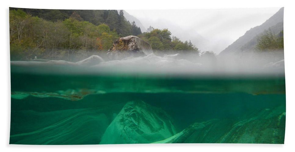 Under The Water Hand Towel featuring the photograph River by Mats Silvan