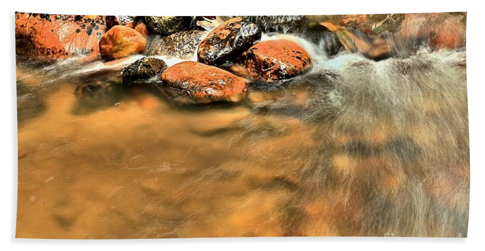Stone Mountain State Park Hand Towel featuring the photograph River Rock Swirl by Adam Jewell