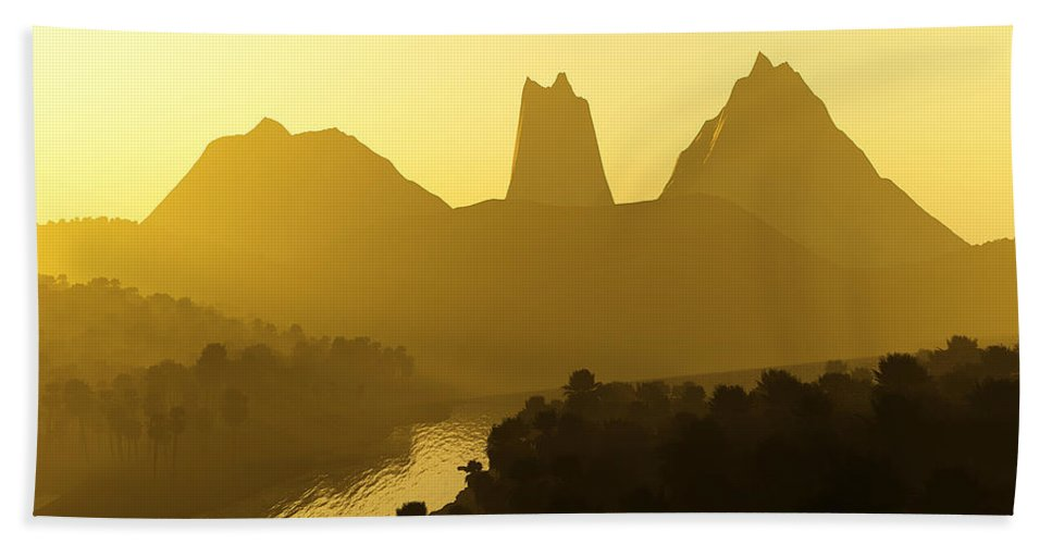 Landscape Hand Towel featuring the digital art River Valley by Svetlana Sewell