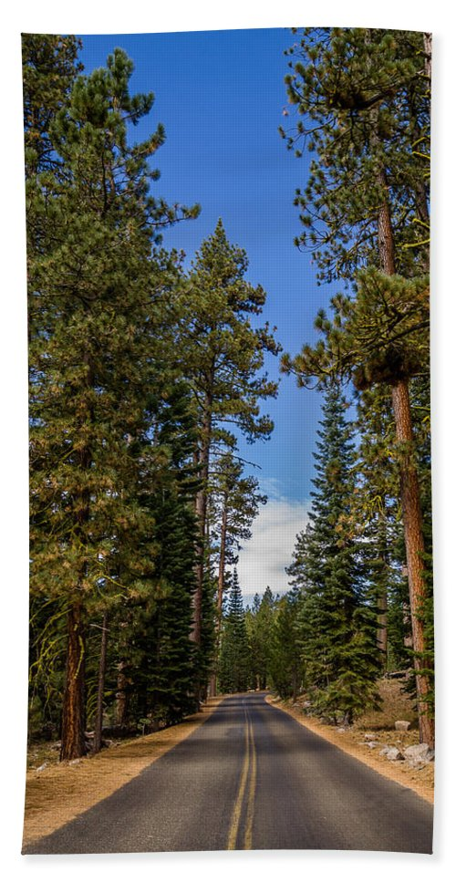Lassen Volcanic National Park Hand Towel featuring the photograph Road Through Lassen Forest by Greg Nyquist
