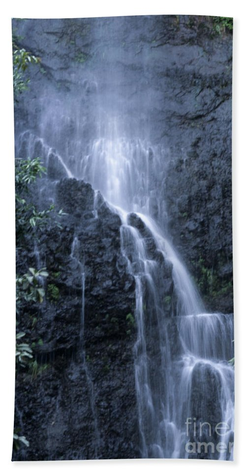 Waterfall Hand Towel featuring the photograph Road To Hana Waterfall by Sandra Bronstein