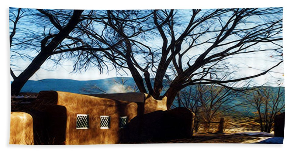 Tree Hand Towel featuring the photograph Road To Mescalero by Terry Fiala