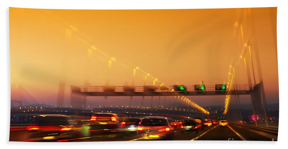 Asphalt Hand Towel featuring the photograph Road Traffic by Carlos Caetano