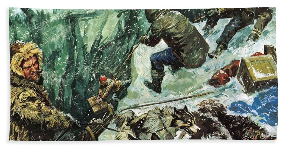 Roald Amundsen; Journey To The South Pole; Antarctic; Cravasse; Sleigh; Snow; Blizzard; Adventure; Being First; Pulling; Provisions; Rescuing; Norway; Norwegians Bath Sheet featuring the painting Roald Amundsen's Journey To The South Pole by Luis Arcas Brauner