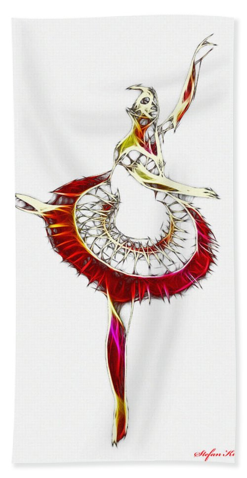 Ballet Ballerina Dance Dancing Princess Erotic Female Girl Woman Sexy Expressionism Wonderful Art Elegant Pretty Lovely Gracefully Painting Dancer Dream Electric Energy Dynamic Motion Love Lovers Dancers Abstract Robot Bath Sheet featuring the digital art Robot Ballerina by Steve K