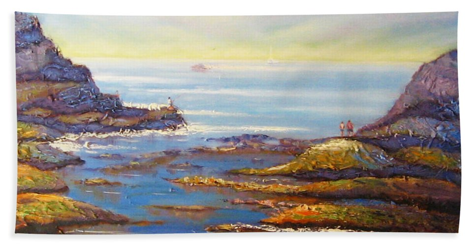 Landscape Hand Towel featuring the painting Rock Pools At North Beach Wollongong by Diane Quee