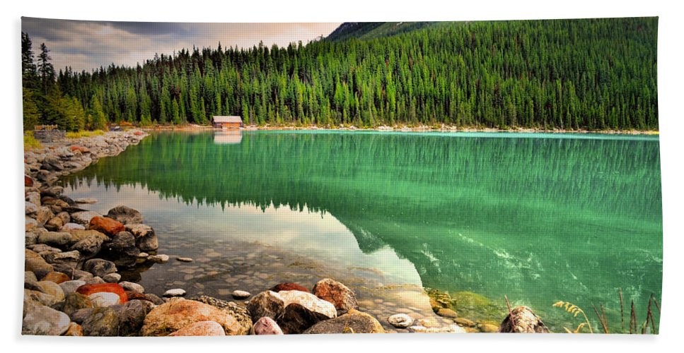 Lake Louise Bath Sheet featuring the photograph Rocks And Reflections by Tara Turner
