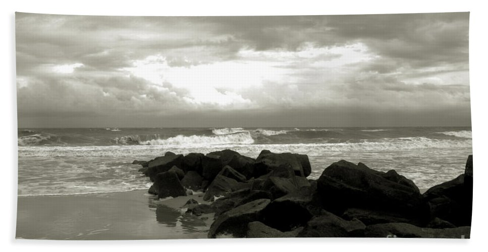 Rocks Bath Sheet featuring the photograph Rocks At Folly Beach Sc by Susanne Van Hulst