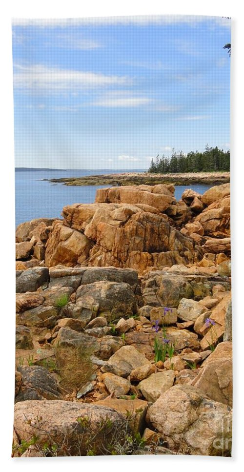 Rocky Beach Bath Sheet featuring the photograph Rocky Coast Of Maine by Meandering Photography