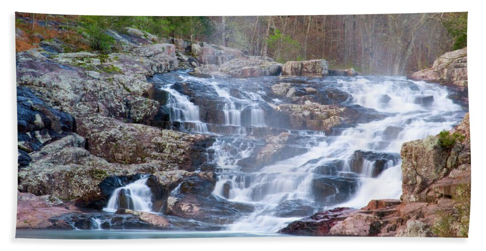 Missouri Hand Towel featuring the photograph Rocky Falls by Steve Stuller