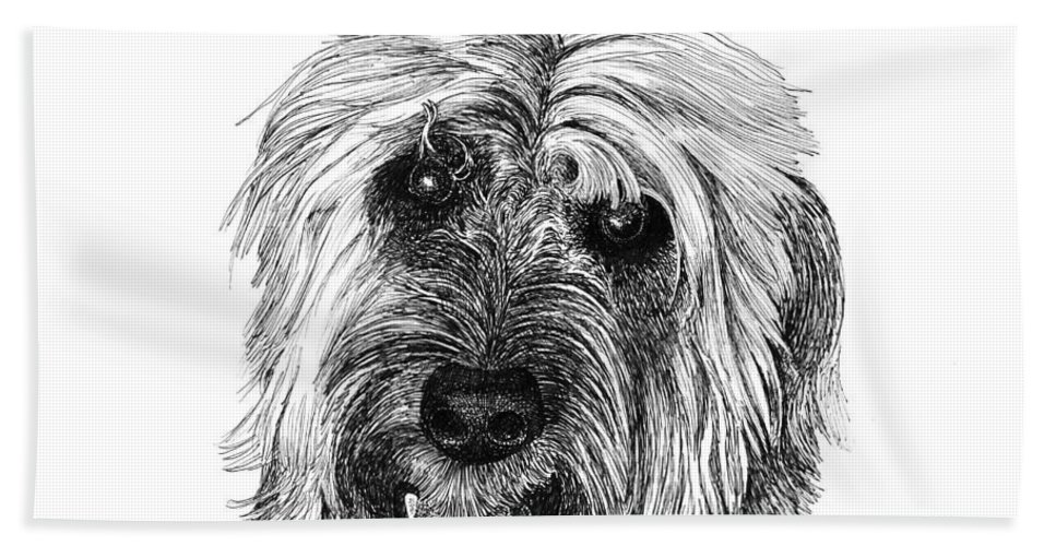 Pen And Ink Art Of Rocky Whose Owner Bath Sheet featuring the drawing Rocky by Jack Pumphrey