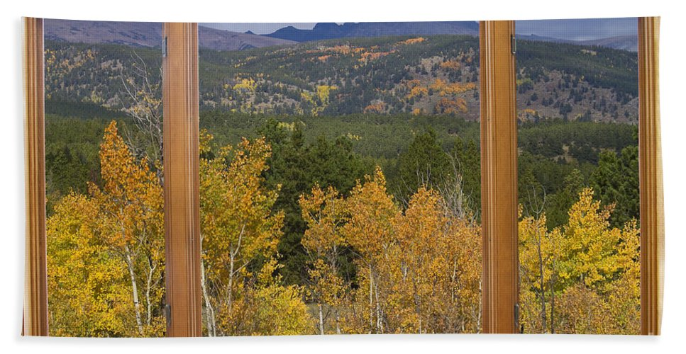 Windows Hand Towel featuring the photograph Rocky Mountain Autumn Picture Window Scenic View by James BO Insogna