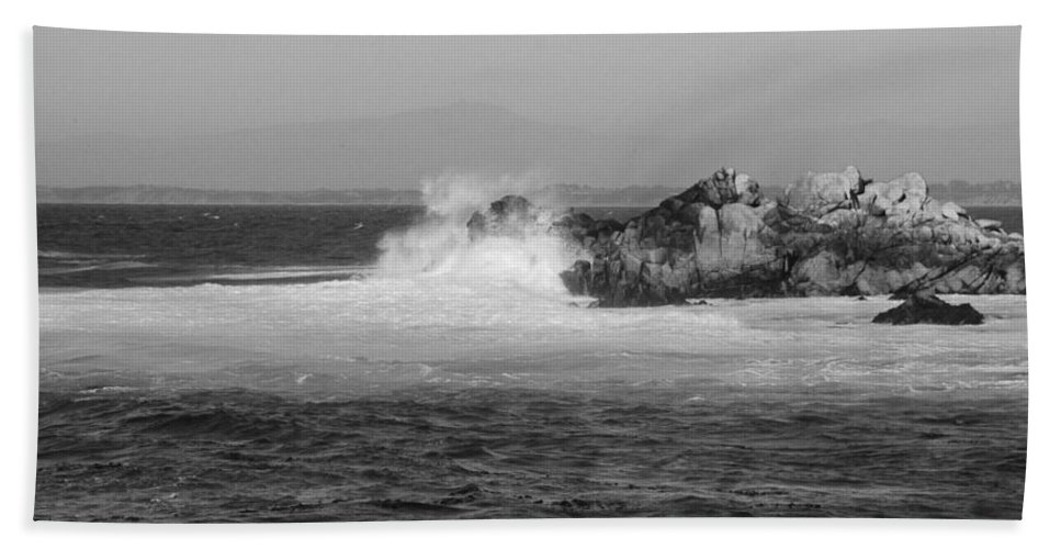 Ocean Bath Sheet featuring the photograph Rocky Outcrop Waves by Kathleen Grace